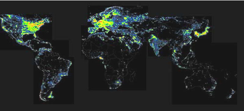 Map Showing the Amount of Artificial Lights we Generate